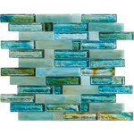 "Marazzi Caicos: Blue Beach 12"" x 12"" Glass Mosaic Tile ULMW"