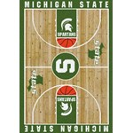 "Milliken College Home Court (NCAA) Michigan State 01180 Court Rectangle (4000018395) 5'4"" x 7'8"" Area Rug"