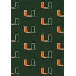 "Milliken College Repeating (NCAA) Miami 01157 Repeat Rectangle (4000018850) 5'4"" x 7'8"" Area Rug"