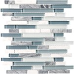 "Anatolia Bliss Glass Stone Blend Linear Mosaic 5/8"" x Random : Waterfall 35-015"