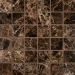 "MS International Emperador Dark Marble Mosaic 12"" x 12"" : SMOT-EMP-2X2-P"